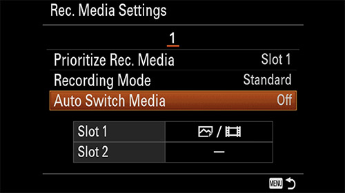 sony a7iii auto switch media