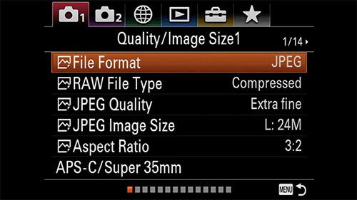 sony a7iii menu image quality