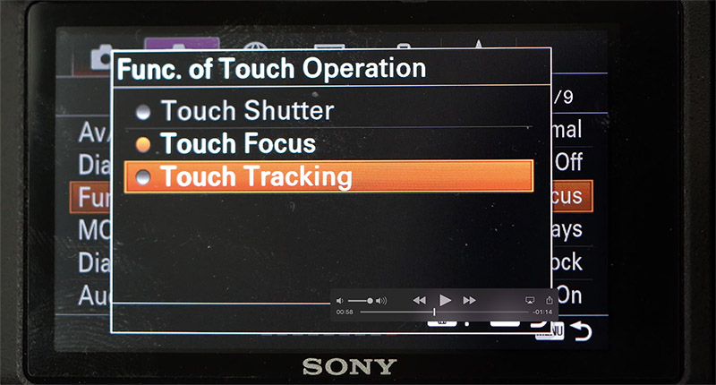 sony a6400 touch tracking in video mode