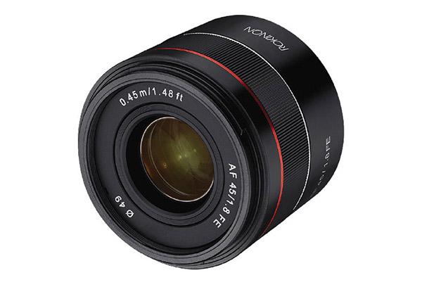 rokinon 45mm f1.8 sony fe lens front