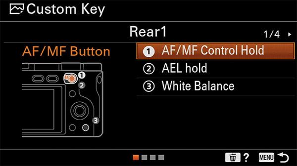 sony a6400 back button focus custom key