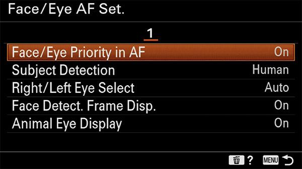 sony a6400 animal eye af setup face priority in af