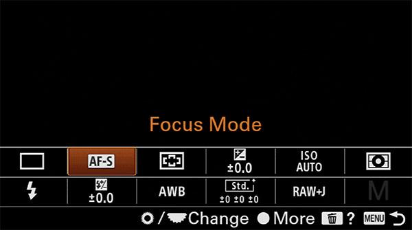 sony a6400 focus mode fn menu