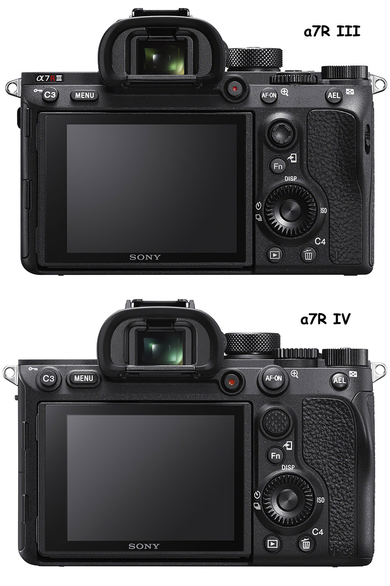 sony a7riii vs a7r iv rear comparison