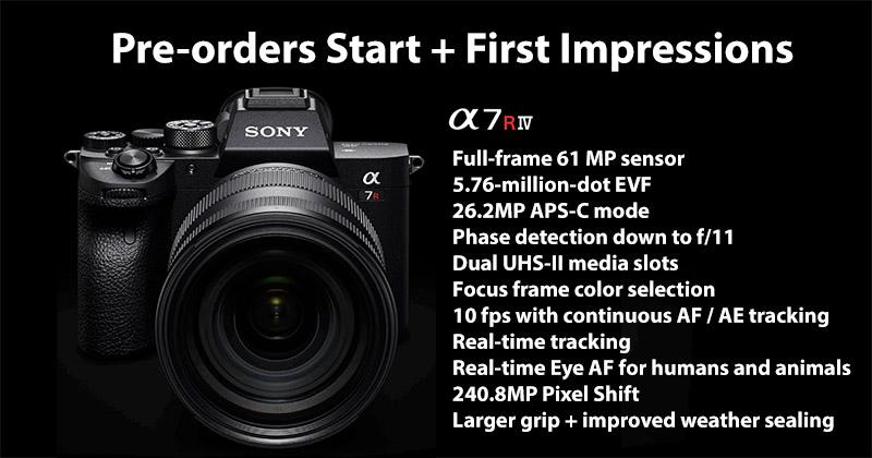 Sony a7R IV Pre-orders Start