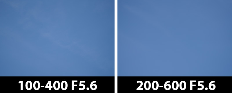 200mm vs 200mm vignetting corrections on