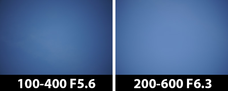 400mm vs 400mm vignetting corrections off