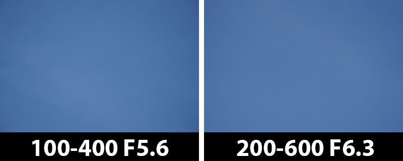400mm vs 400mm vignetting corrections on