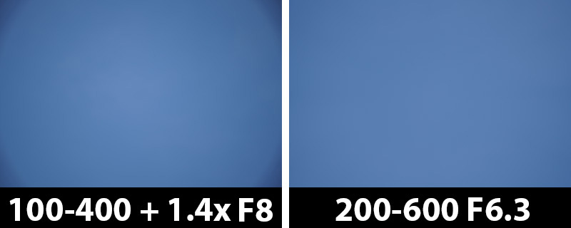 560mm vs 600mm vignetting corrections on
