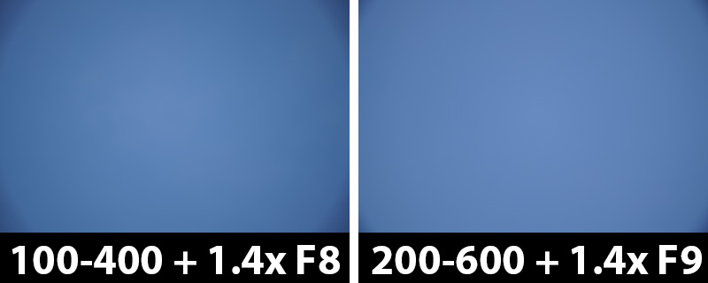 560mm vs 840mm 1.4x vignetting with corrections on