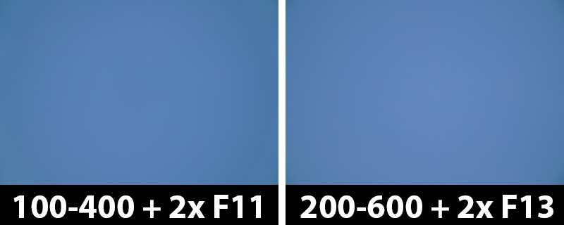 800mm vs 1200mm 2x vignetting-corrections on