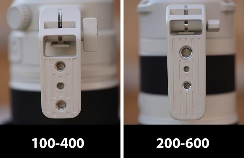 sony 200-600 vs 100-400 tripod feet