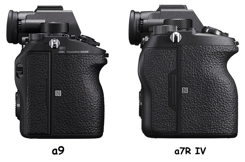 sony a9 vs a7r iv left-side comparison