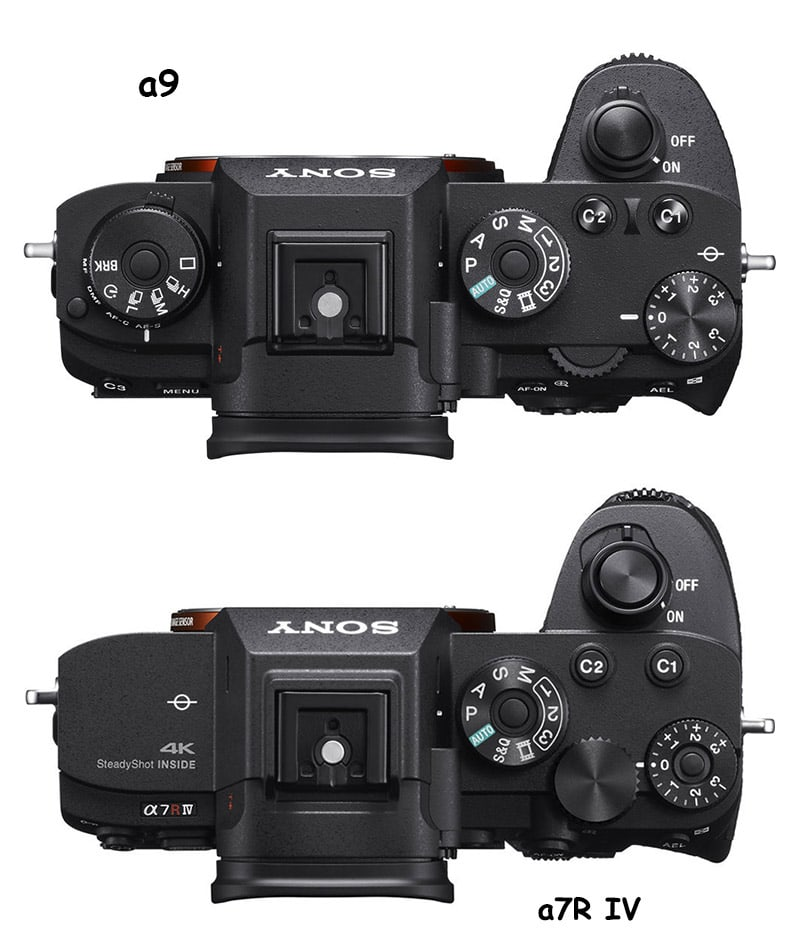 sony a9 vs a7r iv top comparison