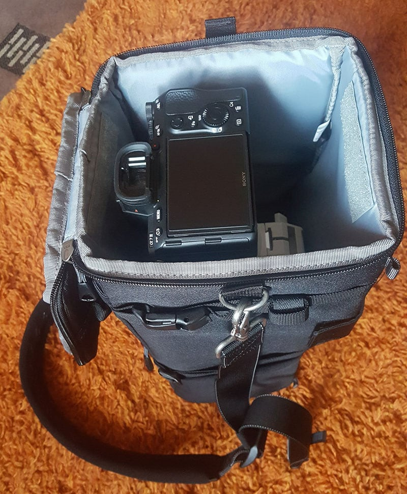Think Tank Digital Holster 150 with Sony 200-600 Lens Inside