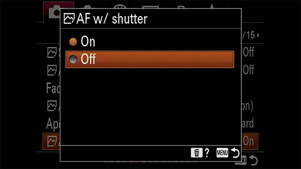 a7riv af with shutter toggle