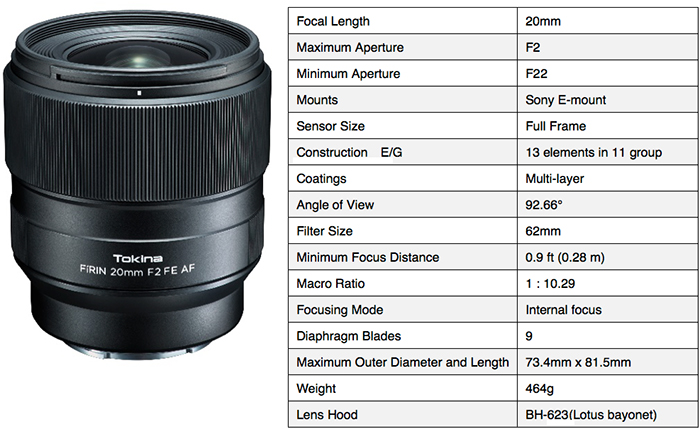 Tokina FiRIN 20mm F2.0 FE AF